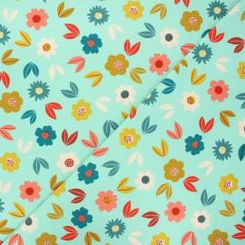 Poppy french terry fabric - mint Flowers x 10cm