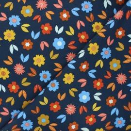 Poppy french terry fabric - night blue Flowers x 10cm