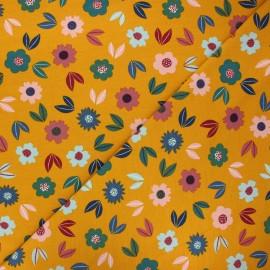 Poppy french terry fabric - ochre Flowers x 10cm