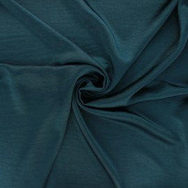 Crushed satin fabric - peacock blue x 10cm
