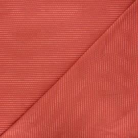 Jersey fabric - terracotta Delicate stripes x 10cm