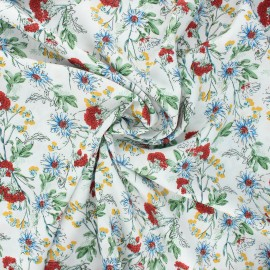 Viscose fabric - white Fleurs sauvages x 10cm