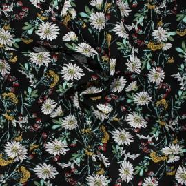Tissu viscose Fleurs sauvages - noir x 10cm
