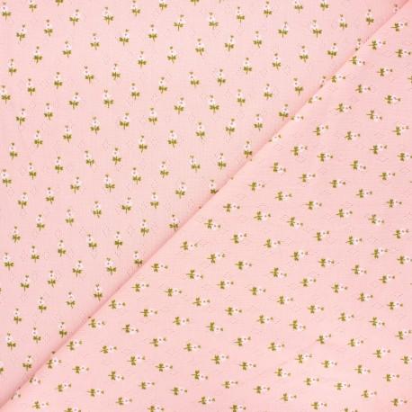Poppy openwork jersey fabric - light pink Sweet flowers x 10cm