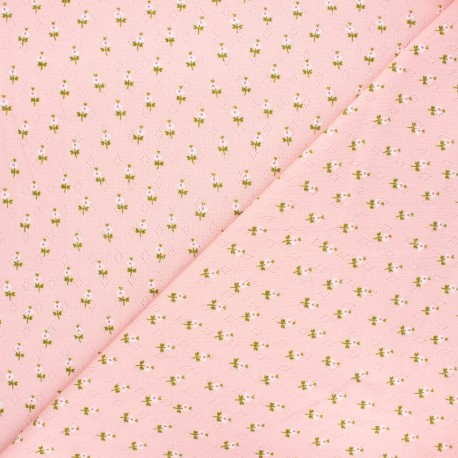 Tissu jersey maille ajourée Poppy Sweet flowers - rose clair x 10cm