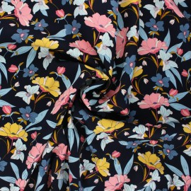 By Penelope® gabardine viscose fabric - midnight blue Vintage flower x 10cm