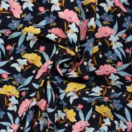 Tissu viscose Vintage flower - bleu nuit x 10cm