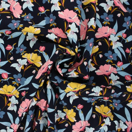 Viscose fabric - midnight blue Vintage flower x 10cm