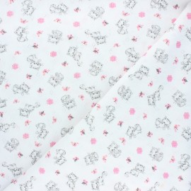 Tissu jersey maille ajourée Poppy Sweet cat - blanc x 10cm