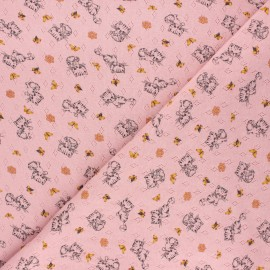 Poppy openwork jersey fabric - light pink Sweet cat x 10cm