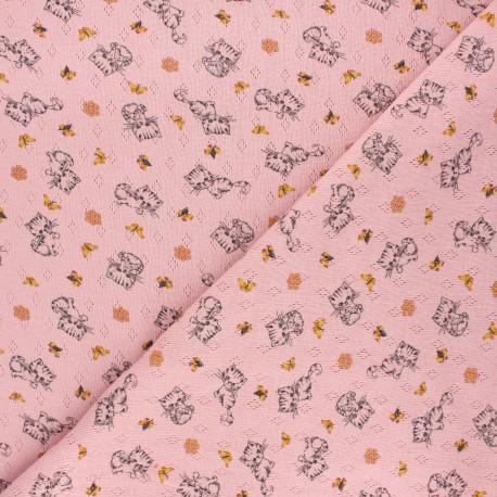 Tissu jersey maille ajourée Poppy Sweet cat - rose clair x 10cm