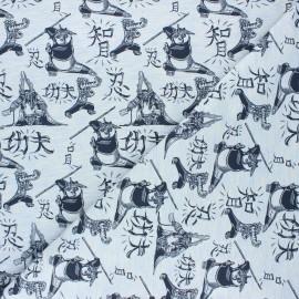 Jersey fabric - mottled light blue Kung Fu Panda fight x 10cm
