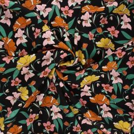 By Penelope® gabardine viscose fabric - black Vintage flower x 10cm