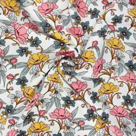 Tissu gabardine viscose Rosella by Penelope® Vintage flower - blanc x 10cm