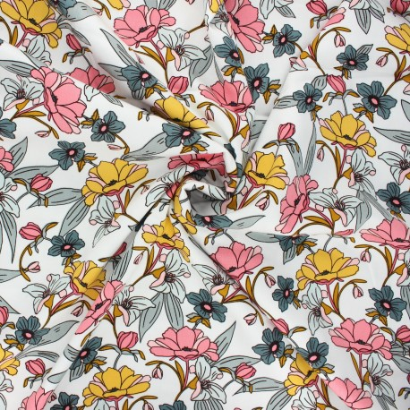 By Penelope® gabardine viscose fabric - white Vintage flower x 10cm