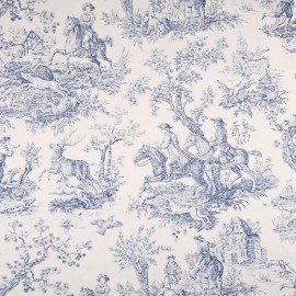 Tissu toile de Jouy Bien aller - bleu x 80cm