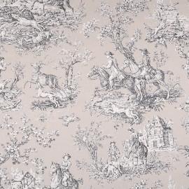 Tissu toile de Jouy Bien aller - beige x 80cm