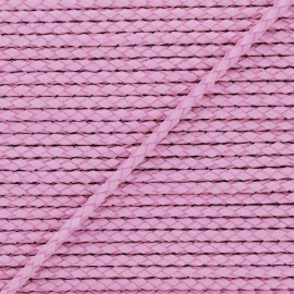 Lacet tressé rond en cuir  5 mm - Rose x 50cm