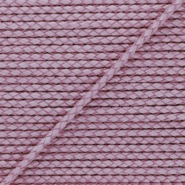 5 mm Round Braded Leather Strip - Purple x 50cm