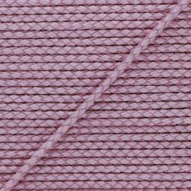 Lacet tressé rond en cuir  5 mm - Violet x 50cm