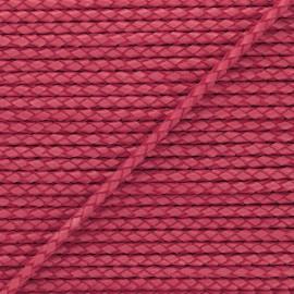5 mm Round Braded Leather Strip - Strawberry Red x 50cm