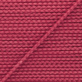 Lacet tressé rond en cuir  5 mm - Rouge fraise x 50cm