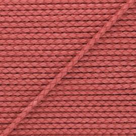 Lacet tressé rond en cuir  5 mm - Rouge framboise x 50cm