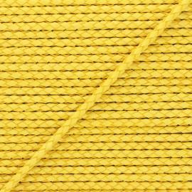 Lacet tressé rond en cuir  5 mm - Jaune x 50cm