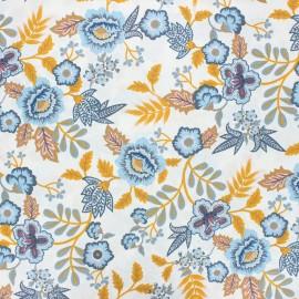 Tissu coton cretonne enduit Poppy Paisley - blanc x 10cm