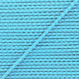 5 mm Round Braded Leather Strip - Celester Blue x 50cm