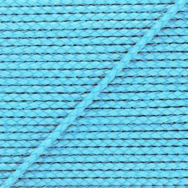 Lacet tressé rond en cuir  5 mm - Bleu célestre x 50cm