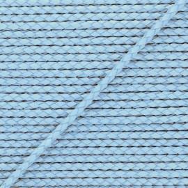 5 mm Round Braded Leather Strip - Steel Blue x 50cm