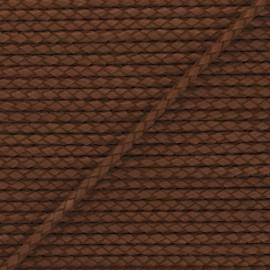 Lacet tressé rond en cuir  5 mm - Marron foncé x 50cm