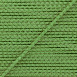 Lacet tressé rond en cuir  5 mm - Vert avocat x 50cm