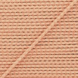 Lacet tressé rond en cuir  5 mm - Terracotta x 50cm