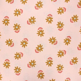 Poppy coated cretonne cotton fabric - pale pink Flower x 10cm