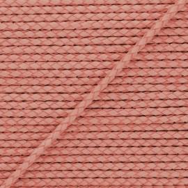 Lacet tressé rond en cuir  5 mm - Acajou x 50cm