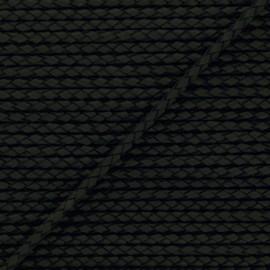 Lacet tressé rond en cuir  5 mm - Noir x 50cm