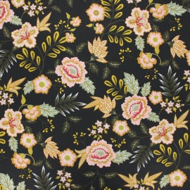 Poppy coated cretonne cotton fabric - black Paisley x 10cm