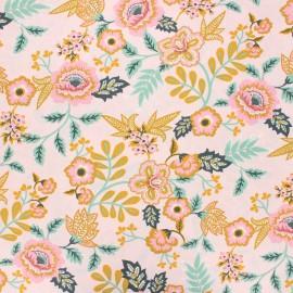 Tissu coton cretonne enduit Poppy Paisley - rose clair x 10cm