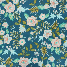 Tissu coton cretonne enduit Poppy Paisley - vert paon x 10cm