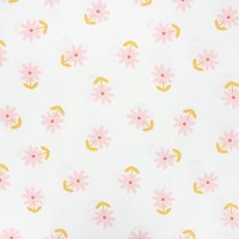 Tissu coton cretonne enduit Poppy Flower - blanc x 10cm