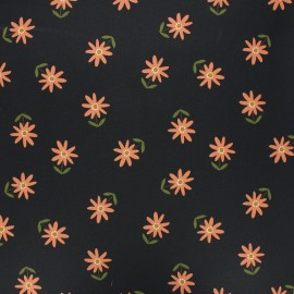 Poppy coated cretonne cotton fabric - black Flower x 10cm
