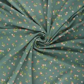 Tissu jersey modal fluide Poppy Flowers - vert x 10cm