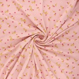 Tissu jersey modal fluide Poppy Flowers - rose thé x 10cm