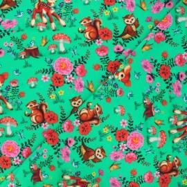 Fiona Hewitt jersey fabric - green Bambi & friends x 10cm