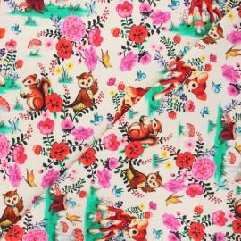 Fiona Hewitt jersey fabric - cream Bambi & friends x 10cm