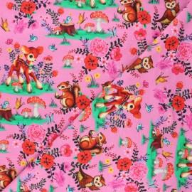 Tissu jersey Fiona Hewitt Bambi & friends - rose x 10cm