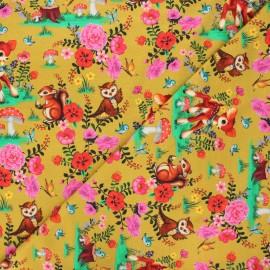 Fiona Hewitt jersey fabric - yellow curry Bambi & friends x 10cm