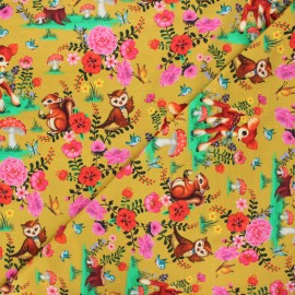 Tissu jersey Fiona Hewitt Bambi & friends - jaune curry x 10cm